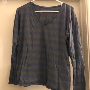 GAP gray and blue long-sleeve striped top